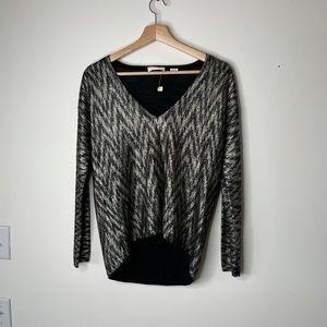 Sass & bide black gold chevron wool sweater top